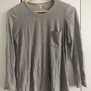 James Perse gray long sleeve pocket t-shirt. Sz 0